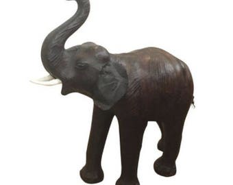 Vintage Brown Leather Elephant