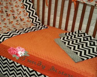 Fox crib bedding for standard and mini cribs
