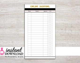 Planner Printable - Online Shopping Tracker - Personal Size - 3.75 x 6.75 in. - Design: Goldie