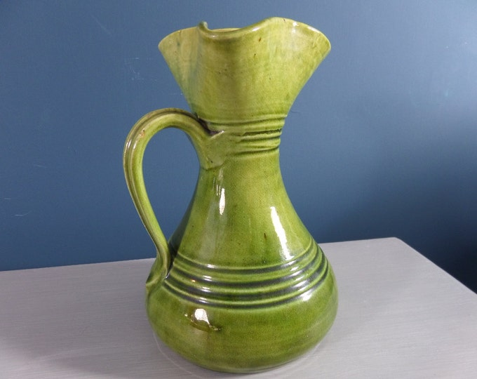 "Olive Green Jug Vase, Mid Century Glazed Studio Pottery, Glossy Green, Curvy Pitcher Shape, Immaculate Condition, 7"" x 4.5"""