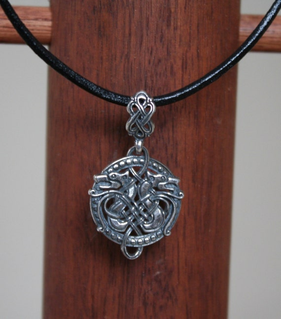 Celtic Wolf Pendant w/ Leather Cord