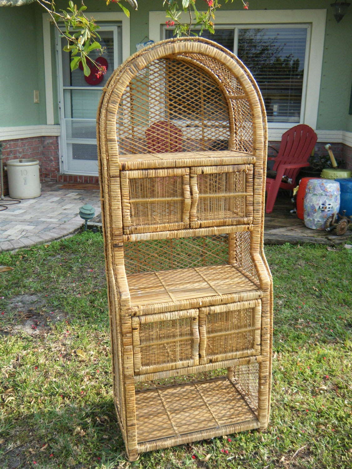 Vintage Bohemian Wicker 3 Shelf Double Door Storage Unit