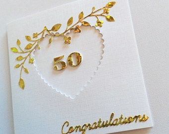 Golden Wedding Anniversary, 50th Anniversary Card, Wife Anniversary, Husband Anniversary, Anniversary Congrats, Blank Anniversary Card