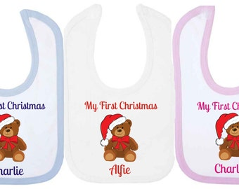 Personalised My First Christmas  Baby Bib With Teddy Bear. Available in WHITE, PINK or BLUE