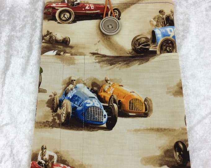 Racing Car Classic Cruiser Medium Tablet Case fabric cover pouch handmade in England