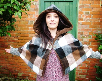 Hooded Cloak Cape chocolate faux fur with checked wool, fashion, LOTR, wedding cloak renaissance cape, poncho, festival winter coat, fantasy