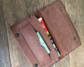 handmade leather tobacco pouch in brown