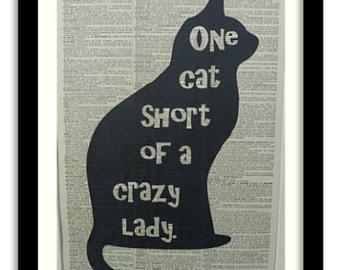 Cat Print No.20, black cat, cat poster, cat wall decor, funny cat quote, crazy cat lady, cat art print, cat wall art, cat art, cat picture