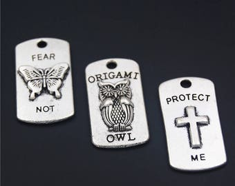 10pcs Antique Silver  Butterfly Cross Owl Inspiration Letters  Charms Pendant A2162/A2163/A2259