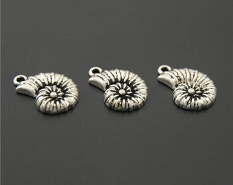 30pcs Antique Silver Spiral Sea Shell Charms Pendant A2209