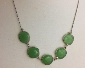 Faceted chrysoprase and silver necklace
