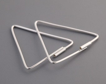 Triangle Shaped Dangling Earrings – Hoop-styled – 925 Sterling Silver – Geometric Shape – Silver Color - E058