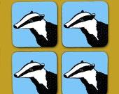 Blue Badger Coaster Set  animal coaster  gift for home  new home gifts  british woodland  british wildlife  drinks mat  badger print