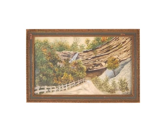 1918 Watercolor Painting Starved Rock Illinois Trail with Waterfall Signed