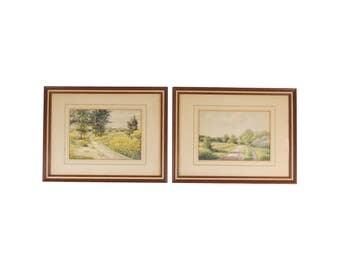 Pair 1937 German Summer Landscape Watercolors Signed Mählmann