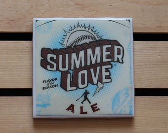 Victory Summer Love Ceramic Craft Beer Coaster from Recycled 6 pack Holder. Beer Coasters. Beer gifts. Drink Coasters.