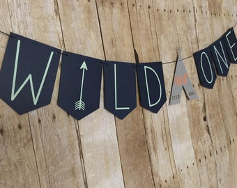 WILD and ONE banner - Wild One- Tribal Banner - Tribal Party - Wild and One Garland- TeePee Banner