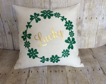 Lucky pillow- St. Patrick's Day pillow- last name pillow- shamrock pillow- St. Patrick's Day decoration- St. Patrick's Day home-