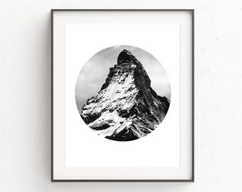 Mountains Print, Geometric Print, Circle Art, Mountain Photography, Circle Print, Printable Wall Art, Black and White Print