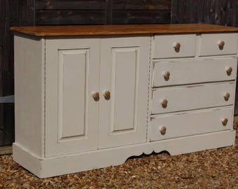 Large Solid Pine Shabby Chic Kitchen/Dining Sideboard 5 Drawer Storage Cabinet