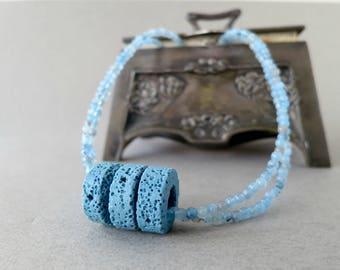 blue statement necklace, light blue necklace, gemstone statement necklace, jade statement necklace, natural stone necklace, jade necklace