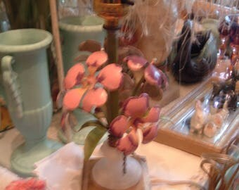 Vintage Toile Flower Lamp