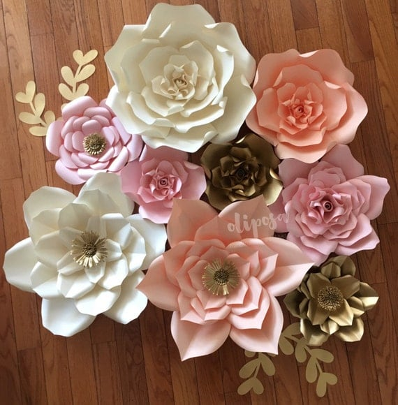 9 Pc Paper Flowers Nursery Toddler Room Home Decor