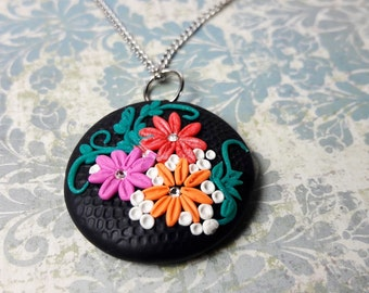 Pendant Necklace. Colorful Flowers. Flower Pendant. Handmade necklace. Polymer Clay Necklace. Statement Jewelry. Round pendant. Gift for Her