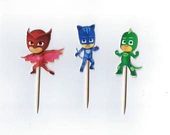 12 PJ masks Cupcake toppers, PJ mask, Party cupcake toppers, masks, Double sided