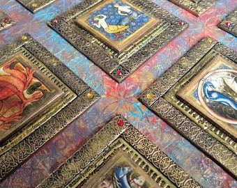 Polymer clay quilt, Medieval bestiary clay on wood assemblage, mixed media Medieval style wall art