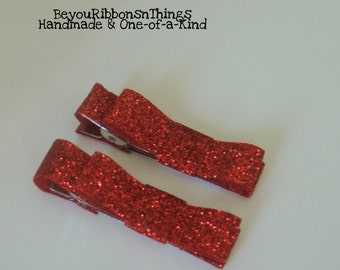 Red Glitter | Hair Clips for Girls | Toddler Barrette | Baby Hair Clips | Kids Hair Accessories | No Slip Grip | Christmas | Holidays