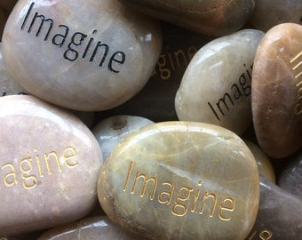 Engraved Stones / River Rocks with Inspirational Words - Gifts or Paper Weights - Imagine