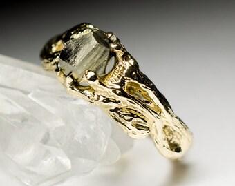 Pyrite Gold Ring art 8544 | Gorgeous Rare Natural Organic Crystal Gemstone Ring Fine Jewelry