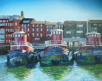 ORIGINAL Oil Painting Portsmouth NH Tugboats