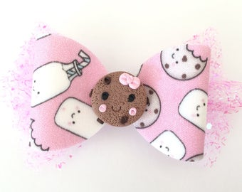 Milk and Cookies Pink Hair Bow with Pink Tulle