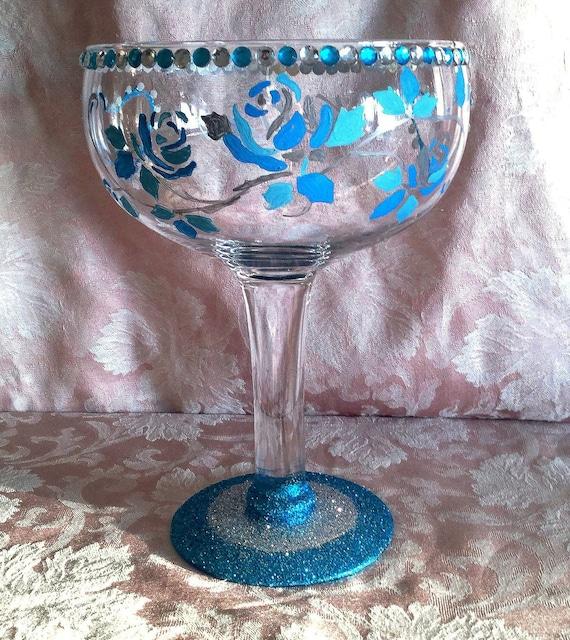 Oversized wine glass wedding reception centerpiece