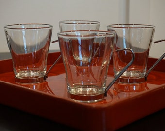 Set of 4 Vintage Bormioli Rocco Glass and Metal  Cappuccino Cups/ Italian Cappuccino Cups/ Made in Italy/ Stainless steel