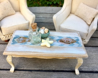Beach coffee table, dollhouse furniture, miniature table
