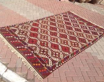 Vintage Turkish kilim rug, 104'' x 64'' area rug, kilim rug, kelim rug, vintage rug, bohemian rug, Turkish rug, rug