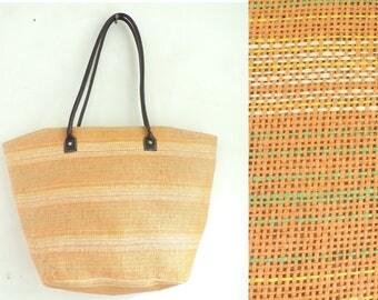 Large Orange Tote Bag, Striped Tote Bag, Orange Tote, Beach Bag, Large Bag, Tote Bag, Synthetic Straw, Beach, Summer Bag, Striped Purse