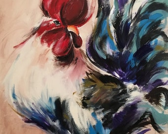 Original Rooster Painting on Wood Rustic Rooster Chicken Art