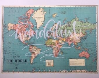 World Map // Vintage Style Map // Handlettered Map // Wanderlust