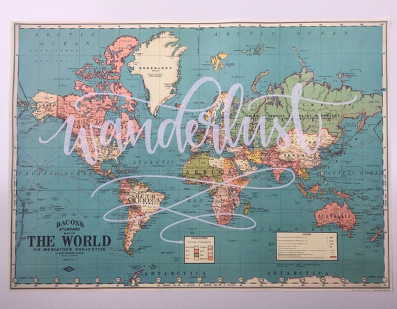world map vintage style map handlettered map. Black Bedroom Furniture Sets. Home Design Ideas