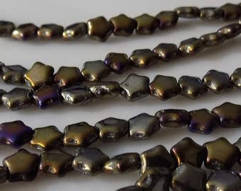 "Iris Brown 6mm Star Fire Polished AB Czech Glass Beads (16"" Strand)"