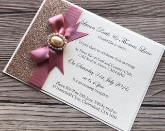 Wedding Invitation, sample, A6 postcard, day invitation, evening invitation, glitter and pearl, wedding stationery, handmade invitations