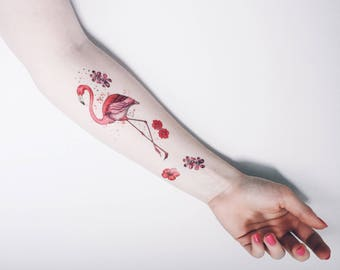 Flamingo Pink Metallic Temporary Tattoo