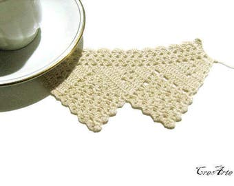 Crochet border, Beige filet crochet border, Bordino uncinetto (Cod. 95)