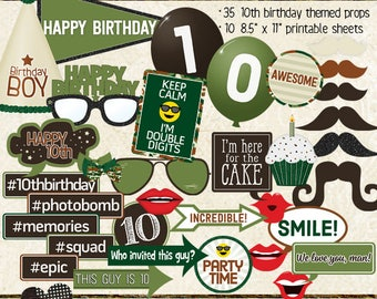 Photo Booth Props, HAPPY 10TH BIRTHDAY, boy, printable props, instant digital download, camo, green, brown, birthday party