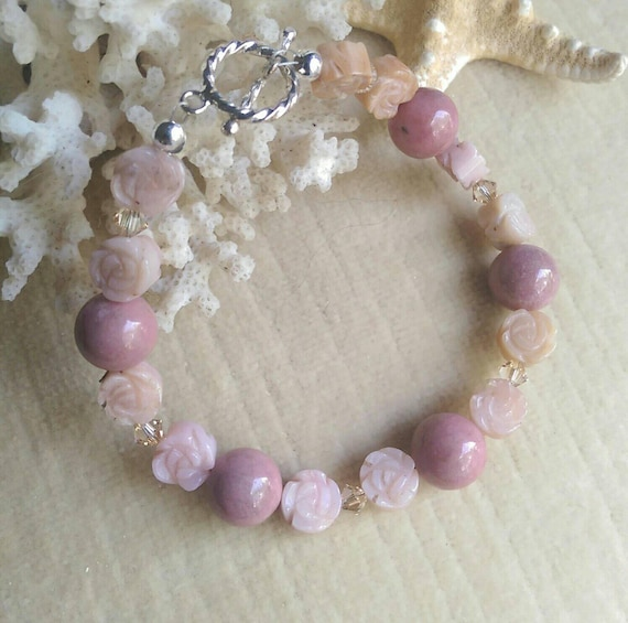 Items Similar To Opal Ring Exquisite Braided Opal: Items Similar To Opal & Rhodonite Bracelet! Carved Opal