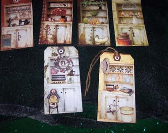SIX large Primitive Hang Tags Antique Cupboard Gift Tags